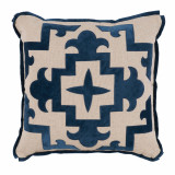 Sultana Applique Denim Velvet On Heavy Basket Pillow 22 X 22 In
