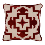 Sultana Applique Garnet Velvet On Heavy Basket Pillow 22 X 22 In