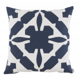 Gloria Applique With Navy & Oyster Linen Pillow 22 X 22 In