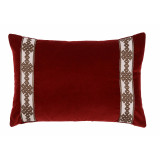 Garnet Velvet Lumbar With Amalfi Charcoal Tape Pillow 13 X 19 In