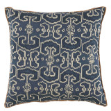 Bengali Indian Blue With Eyelash Trim Pillow 22 X 22 In