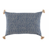Priya Indian Blue With Tassels Lumbar Pillow 13 X 19 In