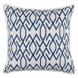 Zoe Navy With White Eyelash Trim Pillow 20 X 20 In
