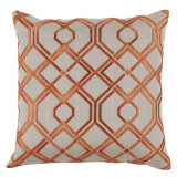 Tangerine Trelliage Embroidery 20×20 Pillow with Knife Edge