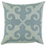 Mosaic Applique With Seafoam & Aquamarine Linen Pillow 22 X 22 In