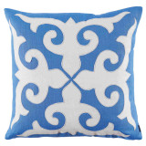 Mosaic Applique With Royal Blue & Oyster Linen Pillow 22 X 22 In