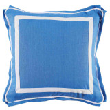 Royal Blue Linen With White Twill Tape Pillow 20 X 20 In