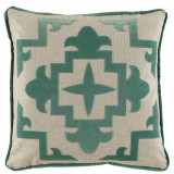 Sultana Applique Viridian Velvet On Heavy Basket Pillow 22 X 22 In
