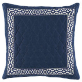 Quilted Denim Linen 22×22 Pillow with Navy Florence Tape