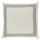 Quilted Ivory Linen With Natural Florence Tape Pillow 22 X 22 In