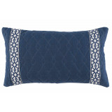 Quilted Denim Linen 13×22 Lumbar Pillow with Navy Florence Tape