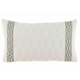 Quilted Ivory Linen With Natural Florence Tape Lumbar Pillow 13 X 22 In