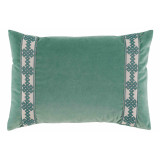 Viridian Velvet With Amalfi Glass Tape Lumbar Pillow 13 X 19 In