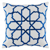Persian Tile Cobalt Embroidery 20×20 Pillow on White Cotton