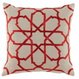 Persian Tile Geranium Embroidery 20×20 Pillow on Natural Linen