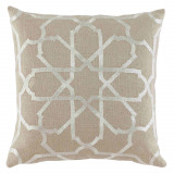 Persian Tile Embroidery Ivory On Natural Linen Pillow 20 X 20 In