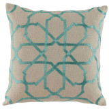 Persian Tile Embroidery Spa On Natural Linen Pillow 20 X 20 In