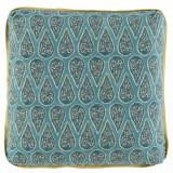 Anya Mist 24×24 Pillow with Lemongrass Linen Flange and Turkish Corners