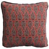 Anya Geranium 24×24 Pillow with Mud Linen Flange and Turkish Corners