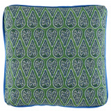 Anya Kelly 24×24 Pillow with Royal Blue Linen Flange and Turkish Corners