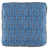 Anya Cobalt With Stone Linen Flange & Turkish Corners Pillow 24 X 24 In