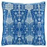 Bombay Cobalt With Trellis Cobalt Gusset & Sky Linen Flange Pillow 24 X 24 X 2 In