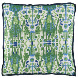 Bombay Kelly With Trellis Kelly Gusset & Navy Linen Flange Pillow 24 X 24 X 2 In