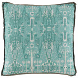 Bombay Mist With Trellis Mist Gusset & Stone Linen Flange Pillow 24 X 24 X 2 In