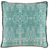 Aqua Ikat Bombay Mist 24x24x2 Pillow with Trellis Mist Gusset and Stone Linen Flange