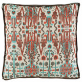 Bombay Paprika With Trellis Mist Gusset & Mud Linen Flange Pillow 24 X 24 X 2 In