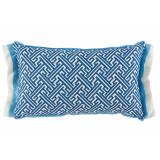 Trellis Cobalt 13×22 Lumbar Pillow with Sky and Oyster Linen Double Flange