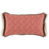 Trellis Geranium 13×22 Lumbar Pillow with Mud and Eggshell Linen Double Flange