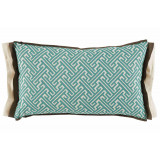 Lacefield Trellis Mist 13×22 Lumbar Pillow with Mud and Eggshell Linen Double Flange