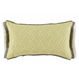 Trellis Spring 13×22 Lumbar Pillow with Stone and Oyster Linen Double Flange