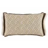 Trellis Sand 13×22 Lumbar Pillow with Mud and Oyster Linen Double Flange