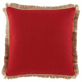 Red Oak Linen 24×24 Pillow with Eggshell Linen Pipe and Jute Fringe