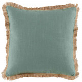 Aquamarine Linen With Seafoam Pipe & Jute Fringe Pillow 24 X 24 In