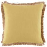 Lemongrass Linen 24×24 Pillow with Eggshell Pipe and Jute Fringe