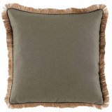 Stone Linen 24×24 Pillow with Grey Pipe and Jute Fringe