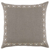 Natural Linen With Grey On Off White Camden Tape Pillow 24 X 24 In