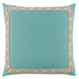Peacock Linen 24×24 Pillow with Tan on Off White Camden Tape