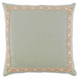 Seafoam Linen With Tan On Off White Camden Tape Pillow 24 X 24 In