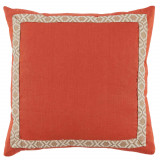 Spice Linen With Off White On Tan Camden Tape Pillow 24 X 24 In