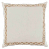 Eggshell Linen With Off White On Tan Camden Tape Pillow 24 X 24 In