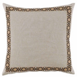 Danish Linen 24×24 Pillow with Fossil on Tan Camden Tape