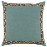 Aquamarine Linen With Fossil On Tan Camden Tape Pillow 24 X 24 In
