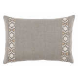 Natural Linen With Grey On Off White Camden Tape Lumbar Pillow 13 X 19 In