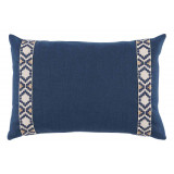 Navy Linen With Navy On Off White Camden Tape Lumbar Pillow 13 X 19 In