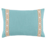 Peacock Linen 13×19 Pillow with Tan on Off White Camden Tape