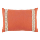Spice Linen With Off White On Tan Camden Tape Lumbar Pillow 13 X 19 In